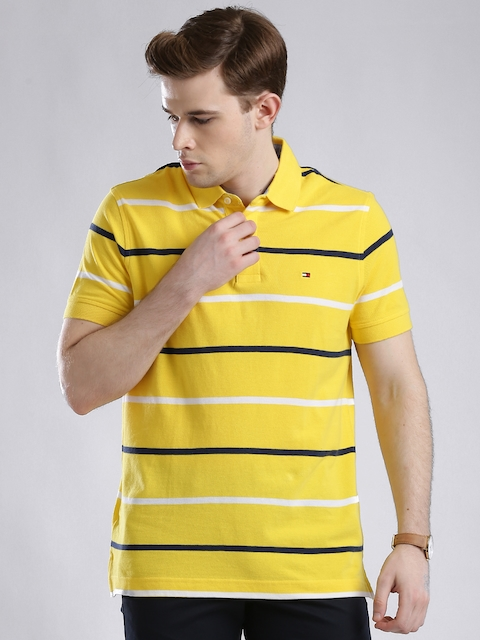 Tommy Hilfiger Yellow Striped Custom Fit Polo T-shirt