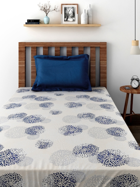 TEZERAC Beige & Navy Cotton Printed Single Duvet Cover with 1 Pillow Cover