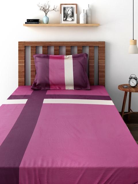 TEZERAC Pink Cotton Single Duvet Cover with 1 Pillow Cover