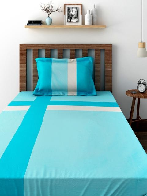 TEZERAC Turquoise Blue Cotton Single Duvet Cover with 1 Pillow Cover