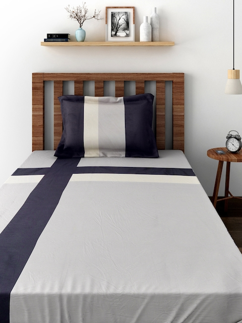 TEZERAC Grey Cotton Single Duvet Cover with 1 Pillow Cover