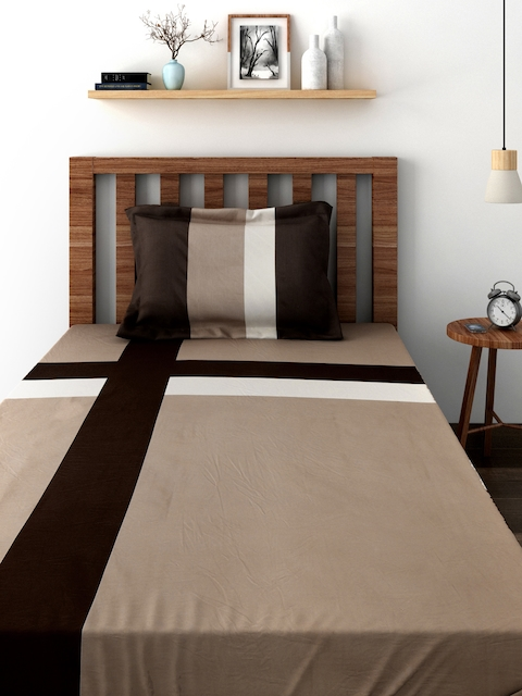 TEZERAC Brown Single Duvet Cover with 1 Pillow Cover