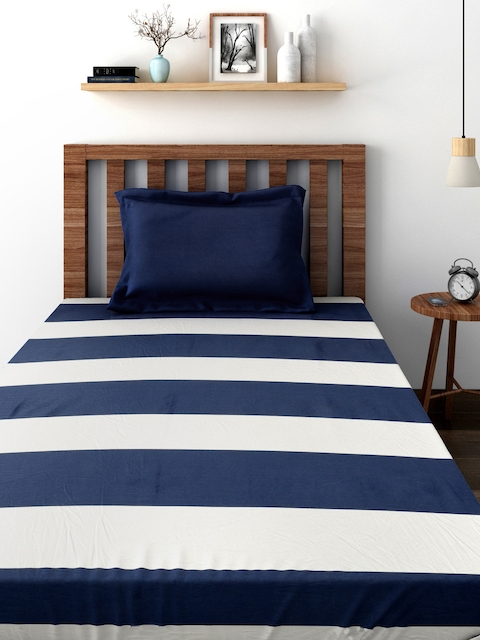 TEZERAC Navy & Off-White Single Duvet Cover with 1 Pillow Cover