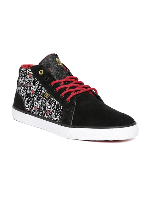 DC Women Black Council Printed Suede Sneakers
