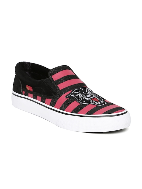 DC Women Red Striped Shimmer Striped Slip-Ons