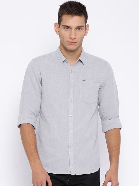 Lee Grey Linen Smart Slim Fit Casual Shirt