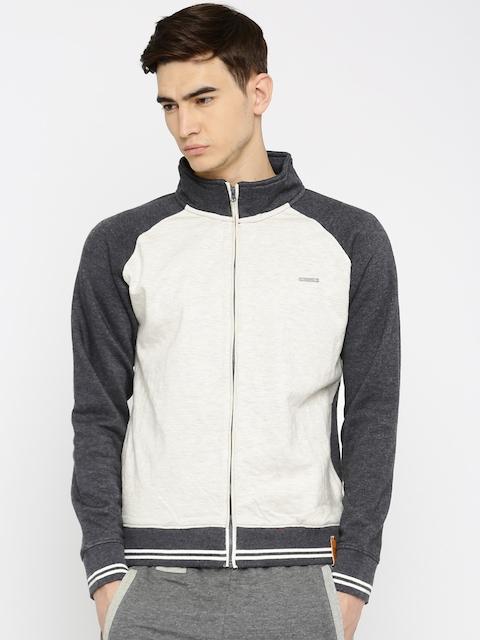 Harvard Off-White & Charcoal Grey Colourblocked Sweatshirt