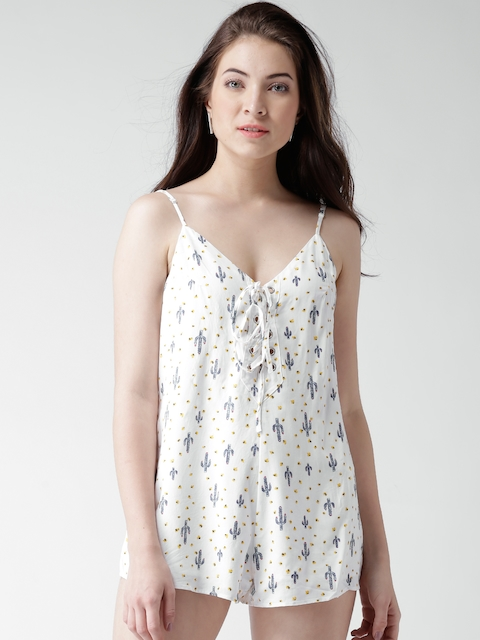 FOREVER 21 Off-White Printed Playsuit