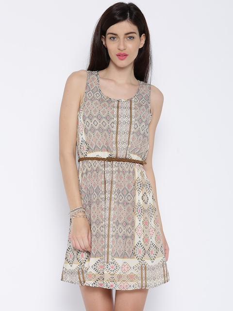ONLY Beige Printed Fit & Flare Dress