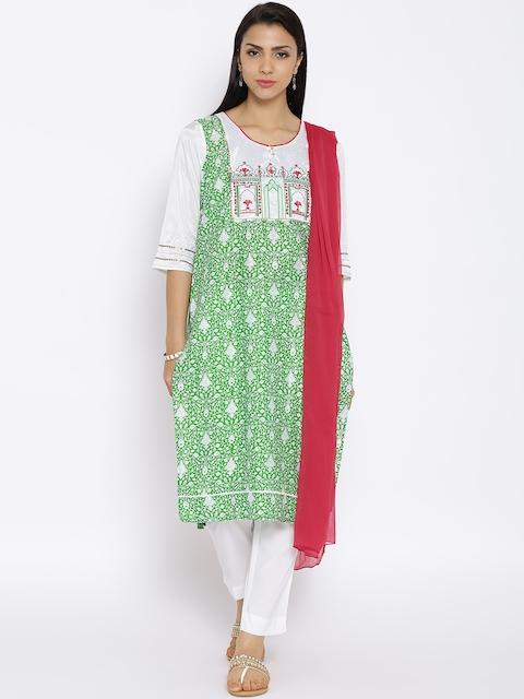Aurelia Green & Off-White Printed Kurta with Trousers and Dupatta