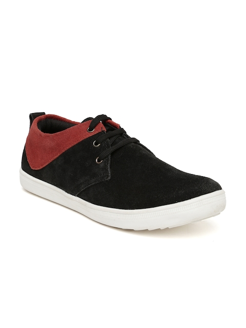 Provogue Men Black & Red Suede Sneakers