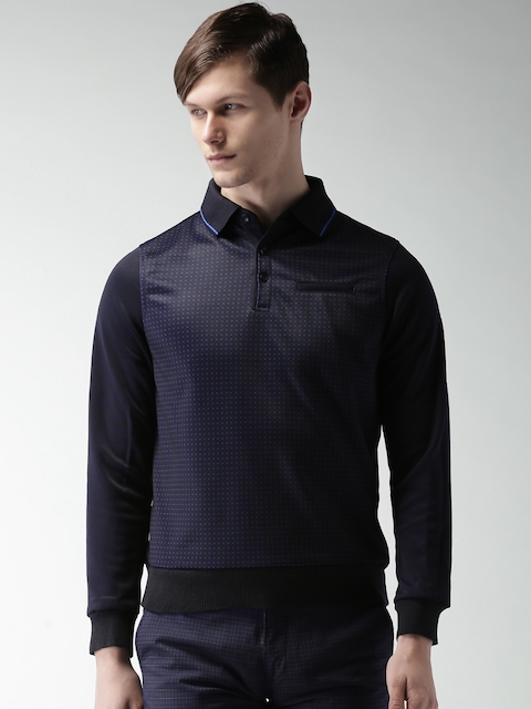 INVICTUS Navy Printed Sweatshirt
