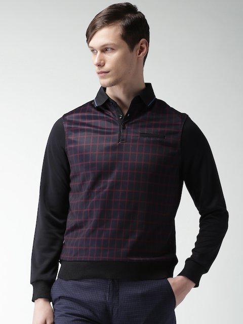 INVICTUS Men Navy Blue Checked Sweatshirt