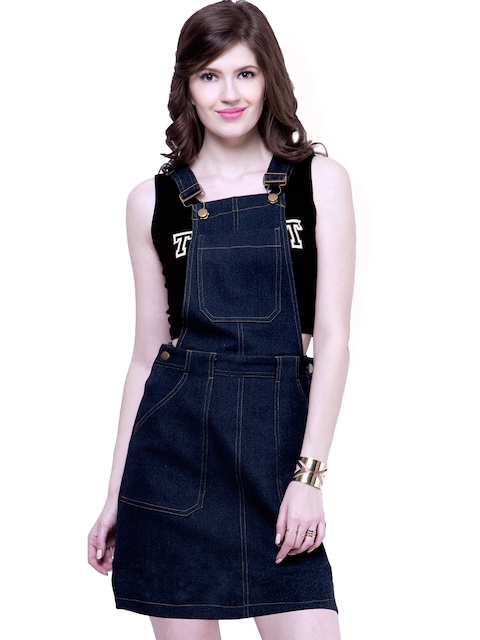 FabAlley Blue Denim Pinafore Dress