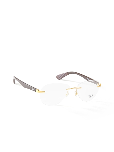 Ray-Ban Men Brown Rimless Oval Frames 0RX6368I250052