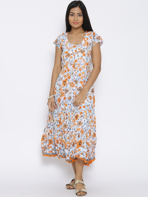 BIBA Multicoloured Tropical Print Midi Dress