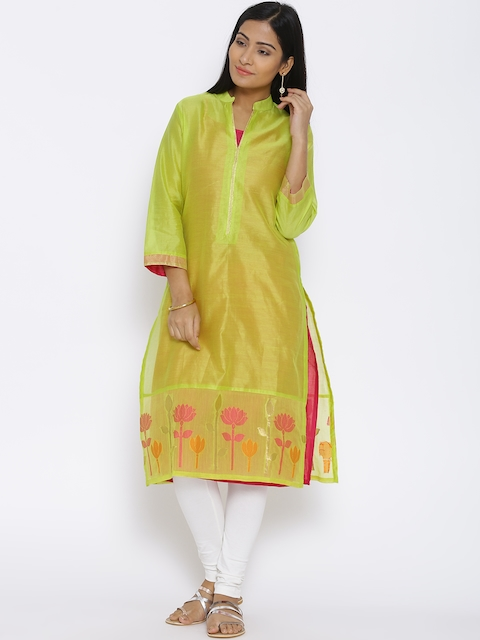 BIBA Green Silk Blend Sheer Kurta