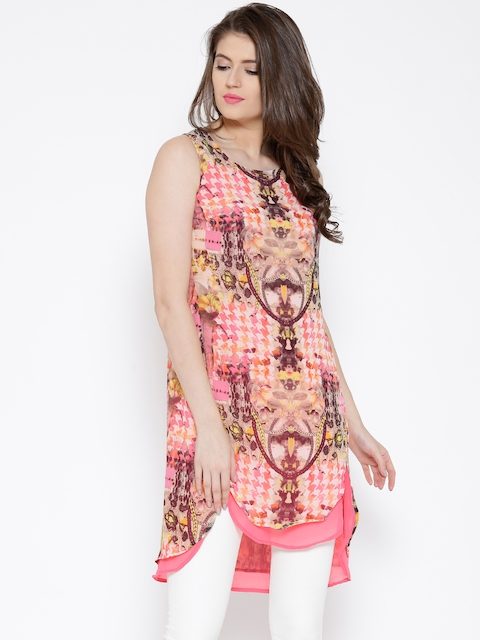 BIBA Pink Polyester Printed A-Line Tunic  available at myntra for Rs.719