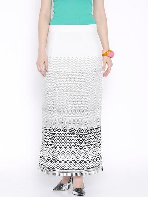 Global Desi White Printed Maxi Skirt