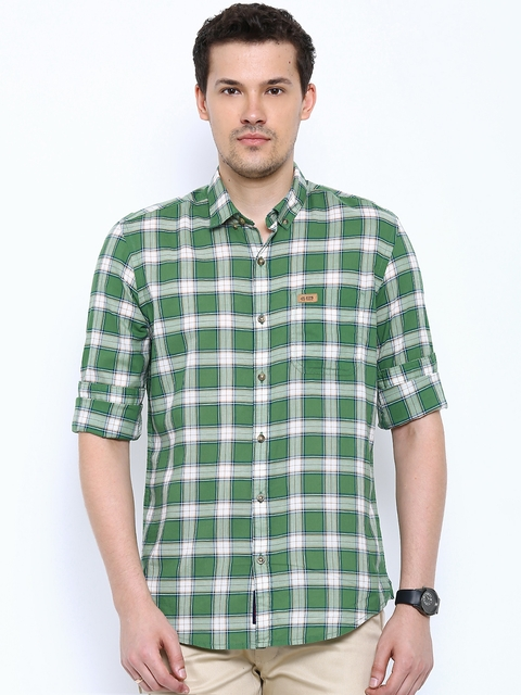 U.S. Polo Assn. Denim Co. Green & White Checked Smart Casual Shirt