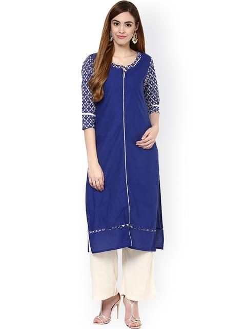 Jaipur Kurti Blue & Off-White Kurta with Palazzo Trousers