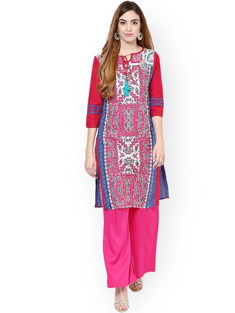 Jaipur Kurti Pink Printed Kurta with Palazzo Trousers