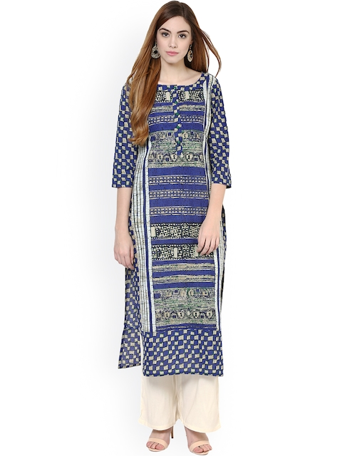 Jaipur Kurti Blue & Off-White Printed Kurta with Palazzo Trousers