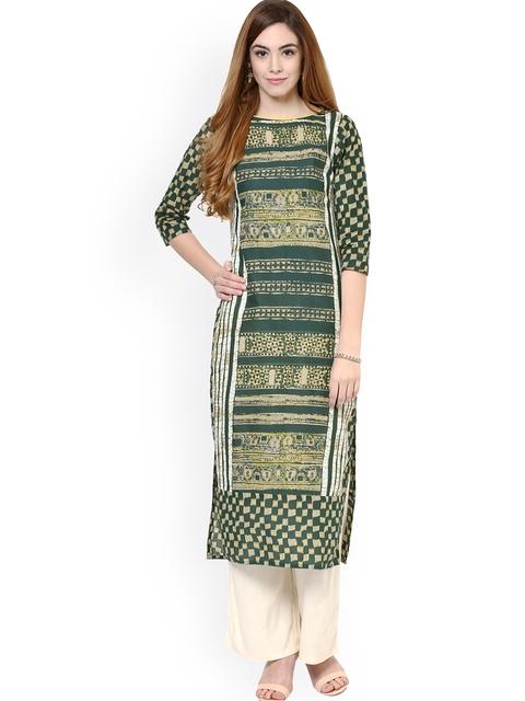 Jaipur Kurti Olive Green & Off-White Printed Kurta with Palazzo Trousers