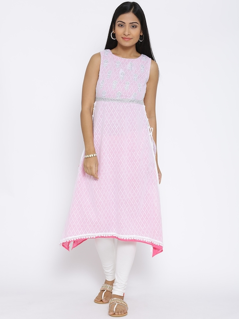 BIBA White & Pink Embroidered A-Line Kurta