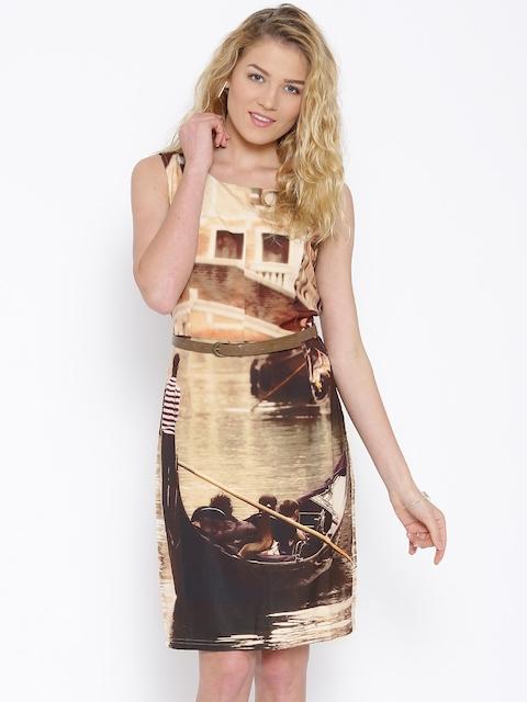 Vero Moda Marquee by Kangana Ranaut Brown Printed Jersey Dress