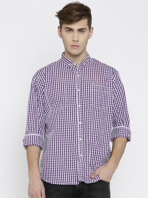 Flying Machine Men Purple Checked Casual Shirt