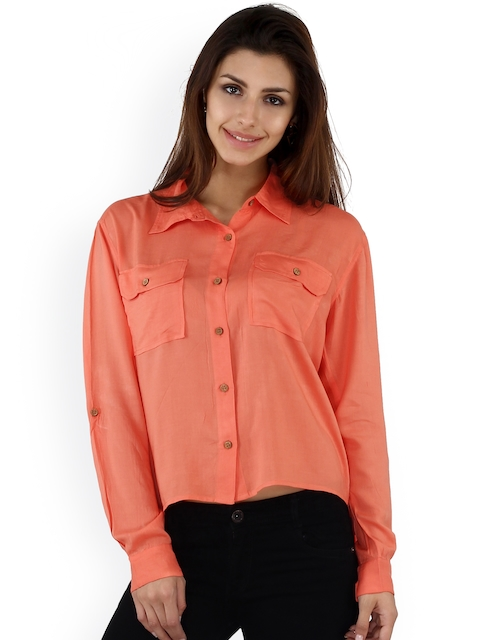 20Dresses Coral Pink High-Low Comfort Fit Shirt