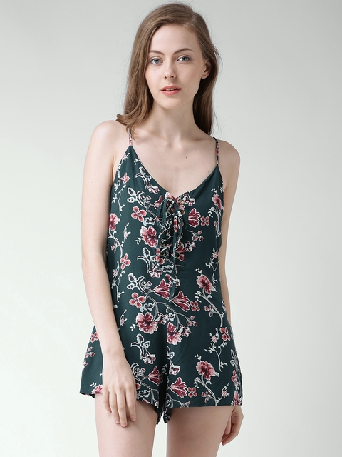 FOREVER 21 Dark Green Floral Print Playsuit