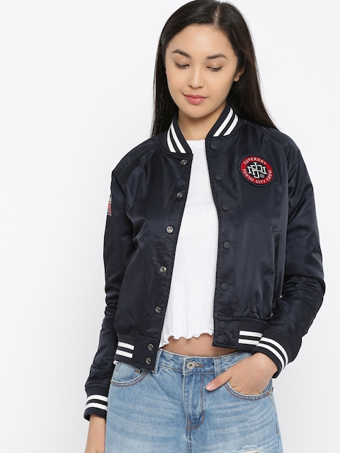 Superdry Women Navy Solid Bomber Jacket