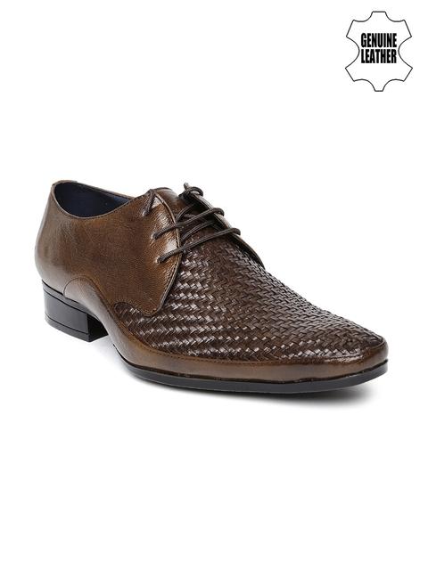 Egoss Men Brown Textured Genuine Leather Formal Shoes