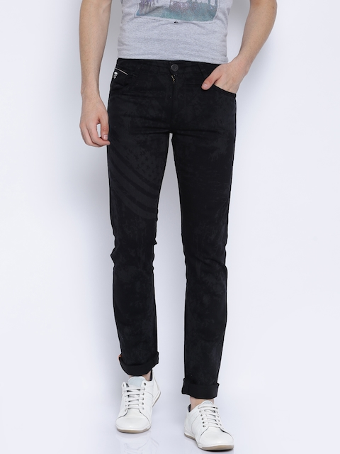 John Players Black Printed Skinny Fit Jeans