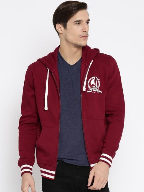 Mast & Harbour Men Red Solid Hooded Sweatshirt
