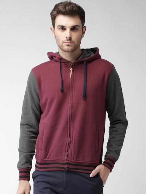 Mast & Harbour Men Burgundy & Charcoal Grey Hooded Sweatshirt