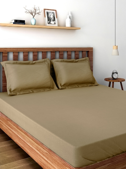 MASPAR Colorart Beige 200 TC Cotton Double Bedsheet with 2 Pillow Covers