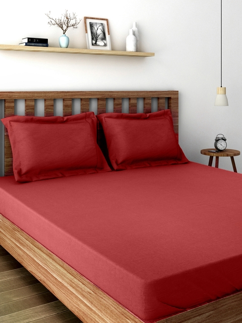 MASPAR Colorart Red 200 TC Cotton Double Bedsheet with 2 Pillow Covers