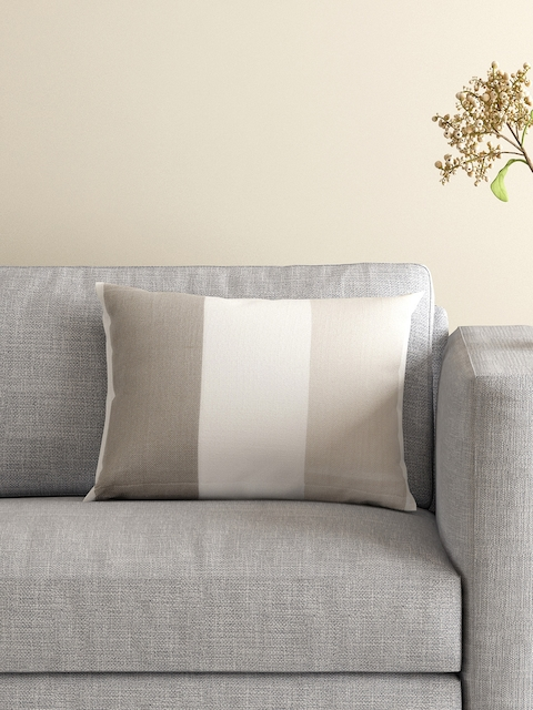 MASPAR Off-White Single Colourblocked 12 x 18 Rectangular Cushion Cover