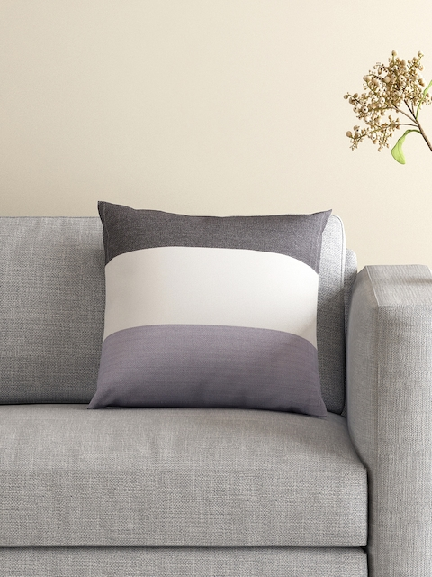 MASPAR Grey Single Colourblocked 16 x 16 Square Cushion Cover