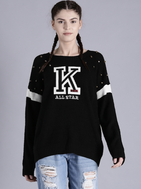Kook N Keech Disney Women Black Self Design Pullover