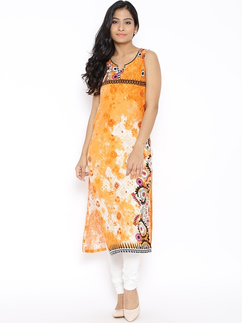 BIBA Orange Printed Kurta  available at myntra for Rs.449