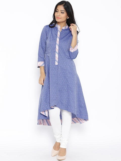 BIBA Blue Patterned Anarkali High-Low Kurta