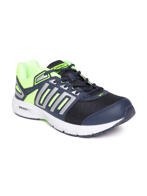 Campus Men Navy & Green Clone Sports Shoes