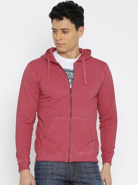 Mast & Harbour Maroon Hooded Sweatshirt