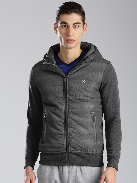 HRX by Hrithik Roshan Charcoal Grey Padded Hooded Jacket