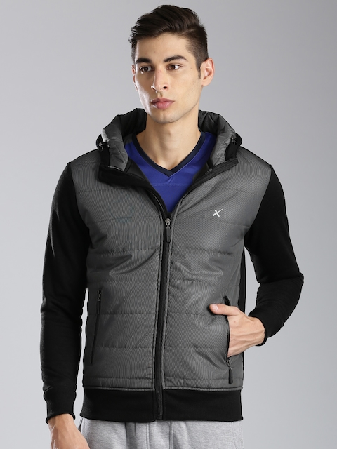HRX by Hrithik Roshan Black & Charcoal Grey Padded Hooded Jacket