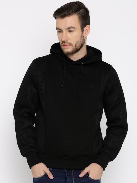 HRX by Hrithik Roshan Men Black Quilted Hooded Sweatshirt
